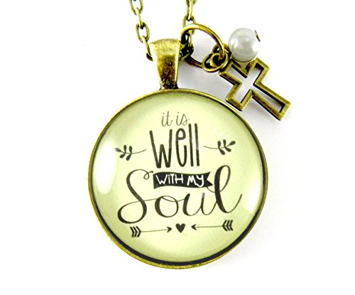 It is Well With My Soul 24 Necklace Christian Hipster Style Bronze Jewelry, 1.20 Circle Glass Pendant Cross Charm