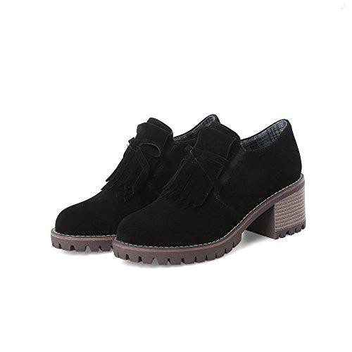 Chaussures Ronde Bloc à Occasionnels Talons Femmes amp;S Tête Talon Black MEI TxwPZXan