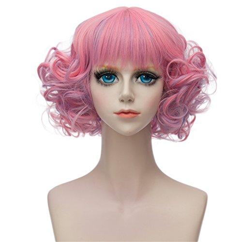 Kadiya Rainbow Pink Short Curly Wavy Layered Lolita