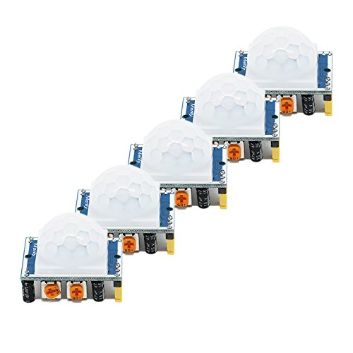 HC-SR501 Adjustable IR Pyroelectric Infrared PIR Motion Sensor Detector PID Modules for Arduino & Raspberry Pi Projects 5 Pairs by Ardest (Image #1)