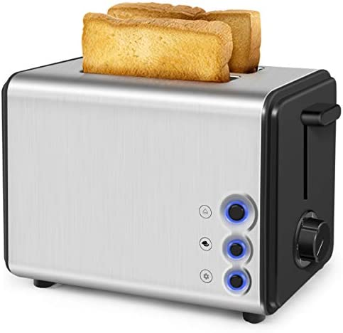 Toaster 2 Slice, Best Rated Prime Stainless Steel Toasters with Removable Crumb Tray Two Slice Toaster with 6 Bread Shade Settings, Bagel, Defrost, Cancel Function for Bread