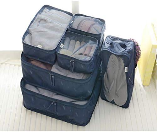 パッキングキューブ6セット、旅行荷物オーガナイザー衣類収納バッグ - トラベルポーチ - 靴下バッグ - 下着袋 - 靴袋,ブルー