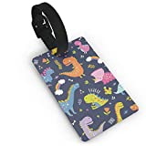 RZM YLY Funny Dinosaurs and Rainbow Pattern Luggage Tag Travel Bag Suitcase Labels W/Privacy Cover Tags Travel ID Label for Bag with Strap