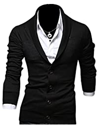 Kiistyle Slim V-Neck Pure Colour Cotton Blended Mens Knit Cardigan