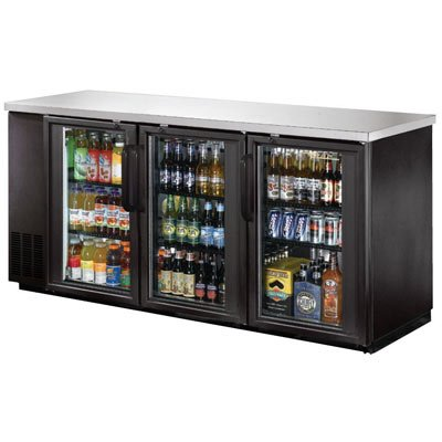 "72"" Commercial 3 Door Back Bar Beer Bottle Beverage Can Cooler Refrigerator, Black, with Stainless Steel Top and Glass Doors"