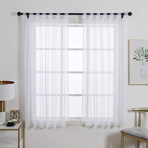 ZebraSmile 1 Panel Tab Top Voile Sheer Curtain Sheers for Living Room Sheer Drape Curtains for Living Room Semi Sheer Curtains Sheer Window Drape White 69(H) X55(W) in (With Curtains Sheer Drapes Hanging)
