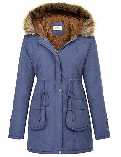 GRACE KARIN Womens Military Hooded Warm Winter Fleece Parkas Anroaks Long Coats CLAF1030-2 S Navy Blue (Lining Trim Fur Silk)