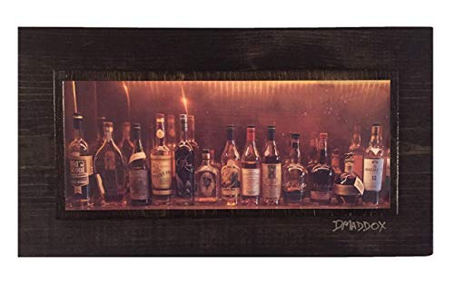 (Bourbon Bottles Panorama on Wood Unique Wall Art)