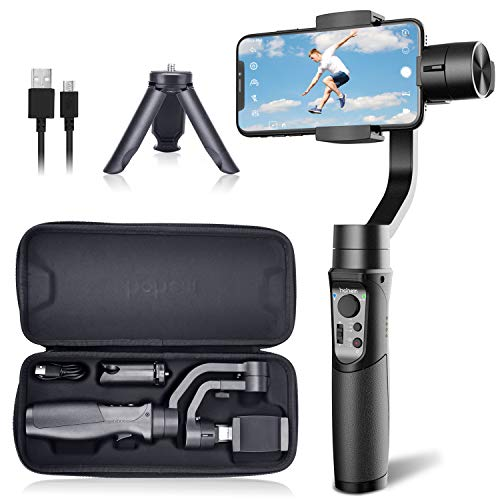 Hohem iSteady Mobile Plus Gimbal Stabilizer 3-Axis Handheld for iPhone 11/11 Pro/Max/XS/XS MAX/XR, for Samsung Galaxy S10/S10 Plus/Note 9/ Plus, Playload 280G, with Face ID, Motion Lapse, for Vlog