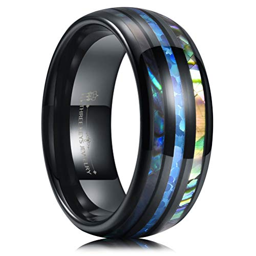 THREE KEYS JEWELRY 8mm Mens Black Tungsten Carbide Ring with Blue Imitated Opal Inlay ColoBlue Shellfish Wedding Bands for Men Women Size 9.5