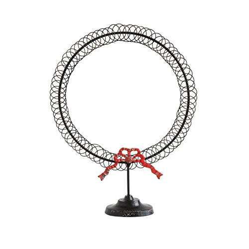 Creative Co-op Round Metal Wreath Shaped Card Holder with Red Bow