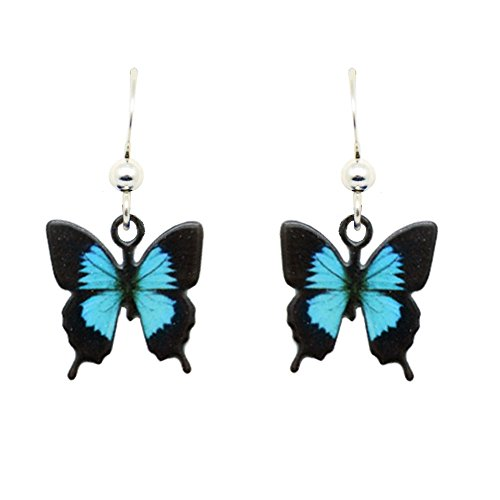 Blue Mountain Swallowtail Butterfly Earrings by d'ears Non-Tarnish Sterling Silver French Hook Ear Wire