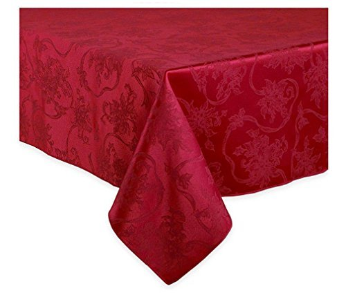 Christmas Ribbons Ruby Red Damask Tablecloth, 60-by-144 Inch Oblong Rectangular -