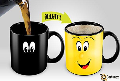 Heat Sensitive Mug | Color Changing Coffee Mug | Funny Coffee Cup | Funny Smiley Face Magic Mug 11oz black mug| Funny Coffee/Tea Cup | 100% Ceramic (Maths Xmas Activities)