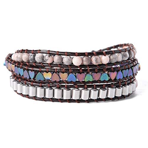 YGLINE Alloy Genuine Leather Bracelet Bangle Cuff Rope Bead 3 Wrap Adjustable
