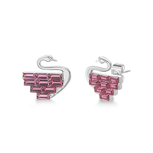 Devin Rose Flamingo Stud Earrings for Women Made With Baguette Cut Swarovski Crystal in Rhodium Plated Brass (Fuchsia)