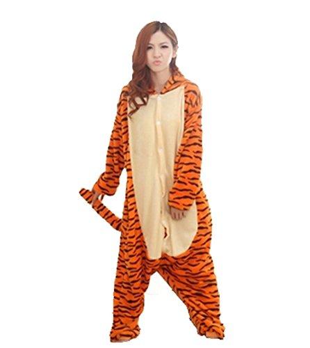 Pigiama invernale intero con tigre che salta, in flanella, unisex, per adulti