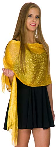 Shawls and Wraps for Evening Dresses, Wedding Shawl Wrap Fringes Scarf for Women Yellow Petal Rose (Shawl With Fringe)