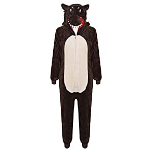 Kids Girls Boys Onesie Soft Fluffy Wolf All In One Halloween Costume 7-14 Years