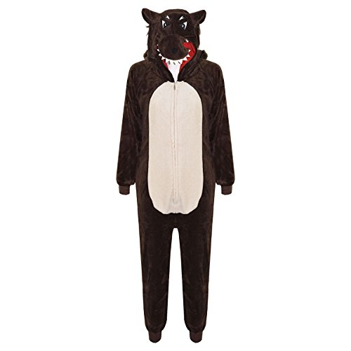 Kids Girls Boys Onesie Soft Fluffy Wolf All in One Halloween Costume 7-14 Years -