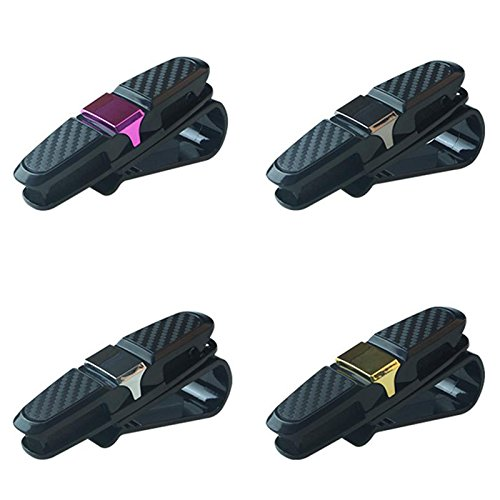Daphot Store Car Auto Sun Visor Clip Holder Carbon Fiber Sunglasses Holder Clip Glasses Cage Storage Universal Car Auto Accessory (Gray) by Daphot Store (Image #3)