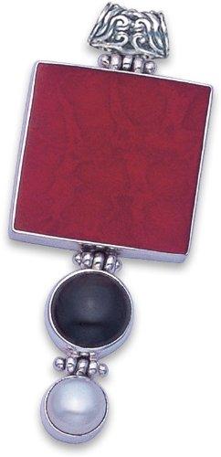 Argent sterling éponge Corail Pendentif–Taille: 54mm 8377COR. ENVOI dans de bonne qualité Argent Boîte cadeau par mail 1st Class. Heather Needham Silver 8377COR