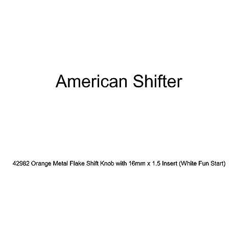 American Shifter 42982 Orange Metal Flake Shift Knob with 16mm x 1.5 Insert White Fun Start
