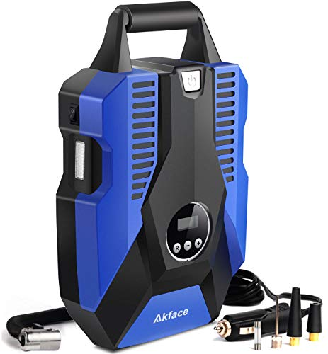 Akface 12V DC Portable Air Compressor Pump, Digital Tire Inflator Auto Tire Pump with Emergency Led Lighting and Long Cable for Car - Bicycle - Motorcycle - Basketball and Other by Akface (Image #7)