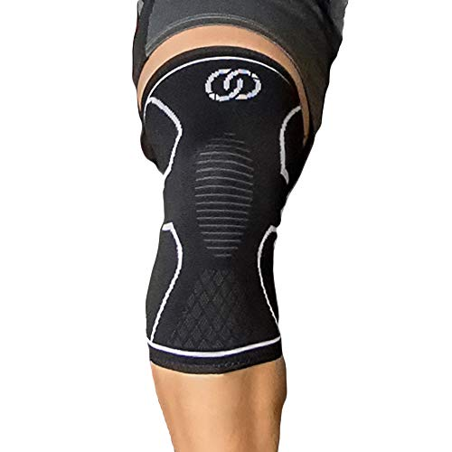 Compressions Knee Sleeve Support Brace - Best Sleeves for Meniscus Tear, Arthritis, ACL, Running, Patella Stabilizer, Weightlifting, Sports, Joint Pain Relief - Single Wrap for Men and Women (Medium)