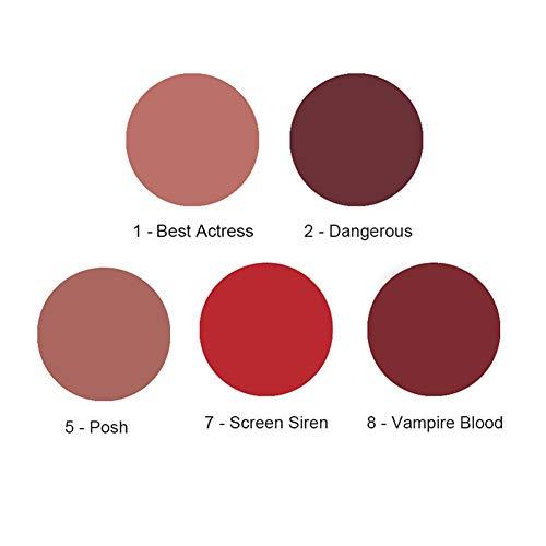 Bonnie Choice 5 Colors Matte Liquid Lipstick Set, Long Lasting Velvet Liquid Lipgloss Waterproof Lip Gloss Set