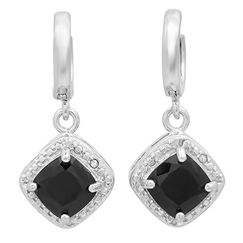 122-carat-ctw-sterling-silver-black-sapphire-white-diamond-accents-ladies-halo-dangling-drop-earring