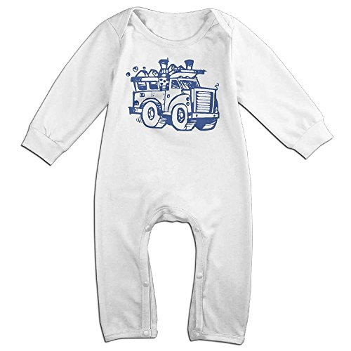 Baby Infant Romper I Heart Love Trash Garbage Trucks Long Sleeve Bodysuit Outfits Clothes White 6 M (White Trash Outfit)