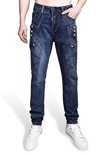 Jeans Mano Classiche Ragazzi Realizzati Slim Fit Con Da Stretch A Vintage Casual Asimmetrico T030 Uomo Lavaggio Denim Inserto nrxrIaqvWw
