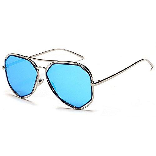de Godbb Polígono Moda de Libre protección Gafas Irregular Tonos Mujeres Sol UV Que Sol de Ojos Color al Aire Lente Azul de de Gafas Proteccion viajan Metal Las Azul polarizada de Marco rnx6rv4