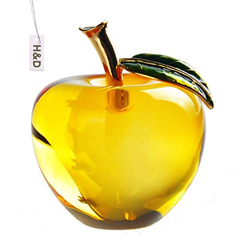 - H&D Glaze Crystal Apple Paperweight Craft Decoration (yellow)