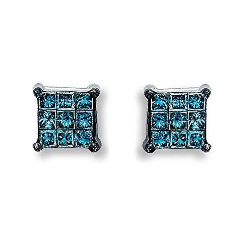 1/5ct Blue Princess Cut Diamond 10k White Gold Invisible set Stud Earrings (White Invisible Gold Set)