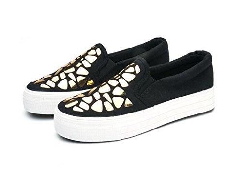 SHFANG Señora Zapatos Aumento interno Pu Zapatos Casual Movimiento Cómodo Ocio Estudiantes Blanco Negro black gold