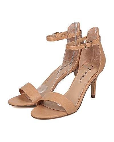 Breckelles Sandalo Stiletto Donna In Similpelle - Elegante, Formale, Da Sposa - Cinturino Alla Caviglia - Gg41 By Natural