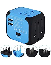 Travel Adapter,Universal World Travel Plug Adapter with Dual USB Charger. Swiss Designed for Safety Outlet. Charge iPads,Blackberrys and Other USB Devices in Over 150 Countries