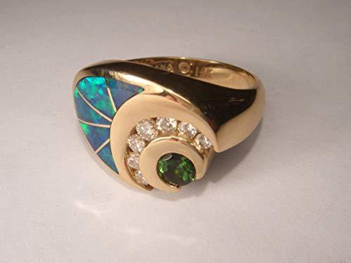 Ring Opal Cocktail Diamond - Unique Art Deco 14K Yellow Gold Diamond Tourmaline Opal Cocktail Ring Band