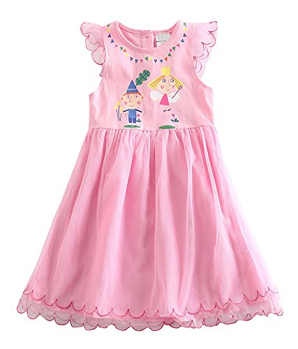 Cute Dress For Tweens (Girls Cute Pink Sleeveless Ben & Holly Printed A-Line Tulle Dress 5-6 Years)