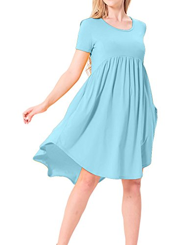 NICIAS Women's Crew Neck Tunic High Low Pleated Casual Loose Swing T-Shirt Short Sleeve Dress with Pockets ((US 4-6) Small, Sky Blue)