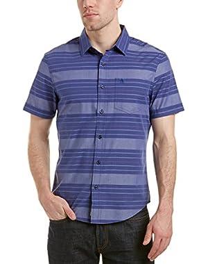 Mens Woven Shirt, M, Blue