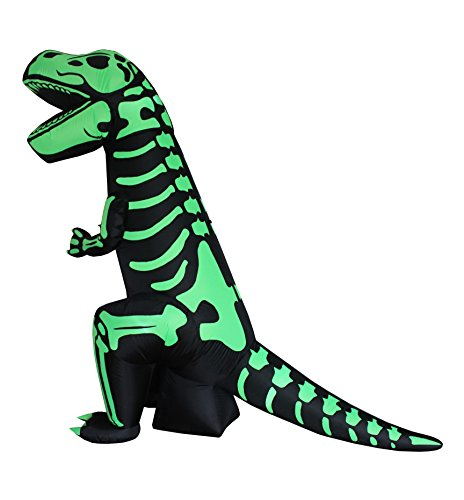 8 Foot Tall Halloween Inflatable Green Skeleton Dinosaur Tyrannosaurus T-Rex Lights Outdoor Indoor Holiday Decorations, Blow Up LED Lighted Yard Decor, Giant Lawn Inflatables for Home Family -