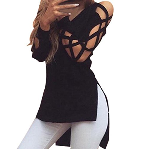 Perman Women V-Neck Tops Casual Club Sexy Hollow Long Sleeve Shirt Blouse (M, Black)