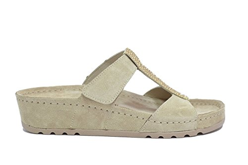 MELLUSO - Sandalias de vestir de ante para mujer Beige beige 36 Beige (Cappuccino)