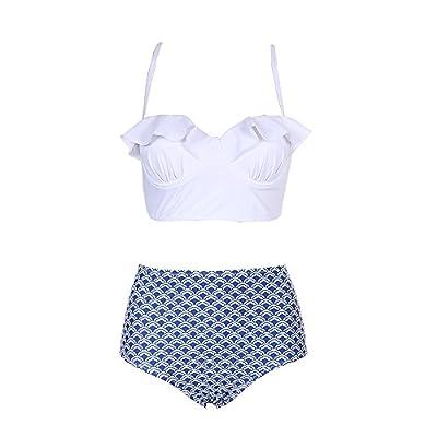 Anna King Women Two Piece Off Swimsuit Retro Ruffled Flounce High Waisted Bikini Set