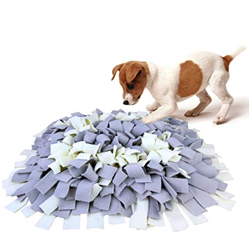 AK KYC Snuffle Mat for Dogs, Dog Feeding Mat, Dog Puzzle Enrichment Toys, Nosework Slow Feeding Training, Encourages Natural Foraging Skills, Perfect for Any Breed Stress Relief, Gray&White