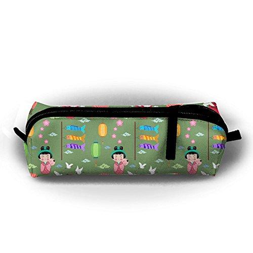 (Pen Case Crane Fan Fish Pencil Pouch Box Students Stationery Organizer Holder Cosmetic Zipper Bag Coins Purse)
