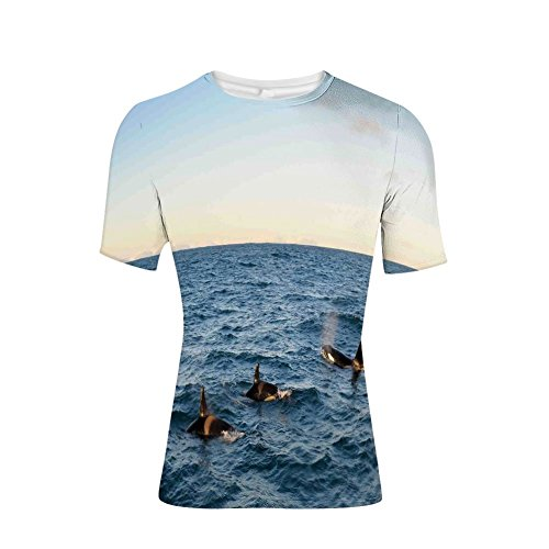 T-Shirt for Men,of Four Killer Whales Coming Out of The Sea Artwork,3D -